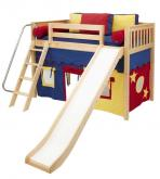 Play Fort MID Loft Bed w/ Slide by Maxtrix Kids (blue/red/yellow on natural) (420.1)