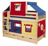 Yellow, Blue and Red Tent Bunk Bed in Natural by Maxtrix Kids (700.2)