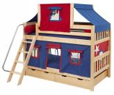 Blue and Red Tent Bunk Bed in Natural by Maxtrix Kids (700.2)