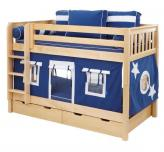 Boys' Play Fort Bunk Bed by Maxtrix Kids (navy blue, white on natural) (700.1)