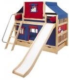Maxtrix Playhouse Tent Bunk Bed w/ slide (blue/red on natural) (720.2)