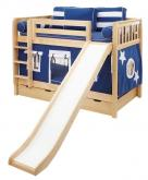 Blue and White Maxtrix Playhouse Bunk Bed in Natural w/ Slide (720.1)