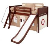 LOW Loft Playhouse Bed w/ Slide by Maxtrix (khaki on chestnut) (320.1)