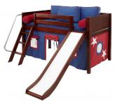 LOW Loft Playhouse Bed w/ Slide by Maxtrix (blue/red on chestnut) (320.1)