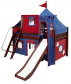 Castle Bed with Slide by Maxtrix Kids (blue/red) (370)