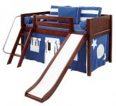 LOW Loft Playhouse Bed w/ Slide by Maxtrix (blue/white on chestnut) (320.1)