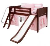 LOW Loft Playhouse Bed w/ Slide by Maxtrix (pink/white on chestnut) (320.1s)