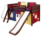LOW Loft Playhouse Bed w/ Slide by Maxtrix (yellow/blue/red on chestnut) (320.1)