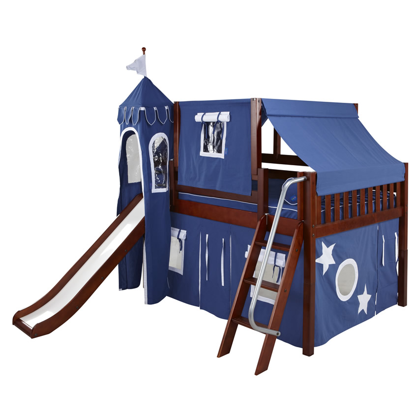 Blue And White Full Size Playhouse Castle Loft Bed By