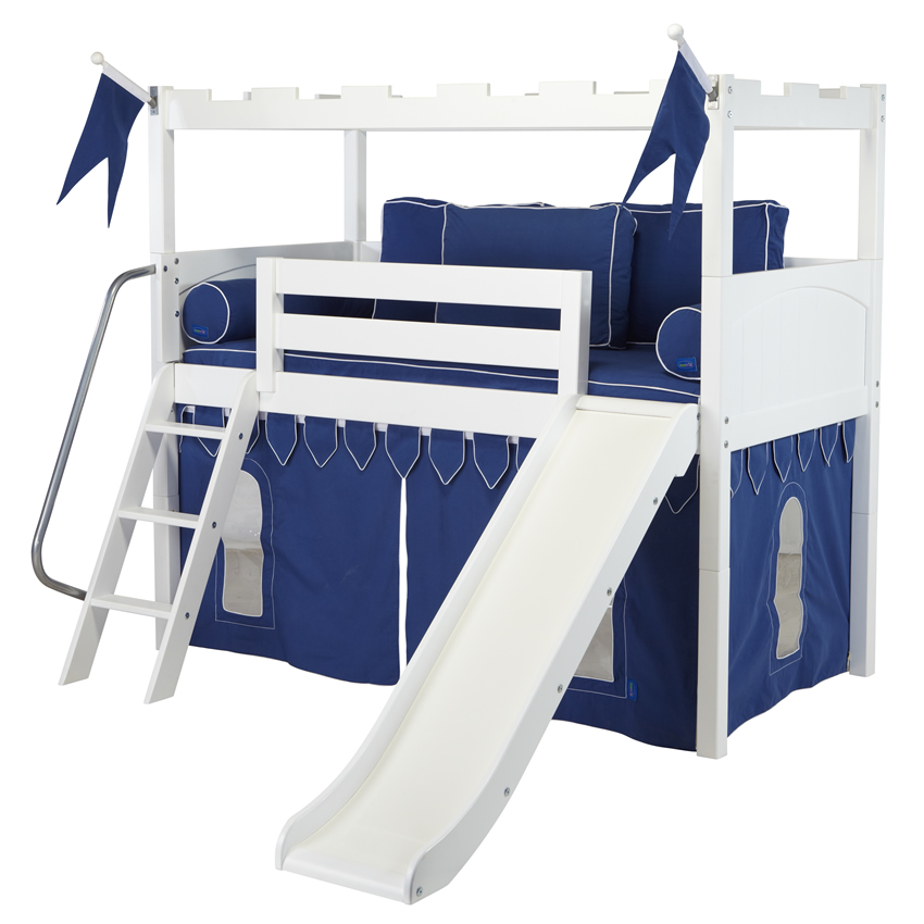 White Camelot Castle Low Loft Bed With Slide By Maxtrix