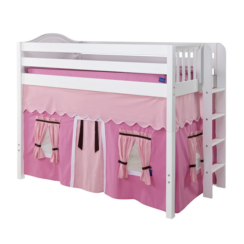 Mack Mid Size Playhouse Loft Bed In Pink And Brown On