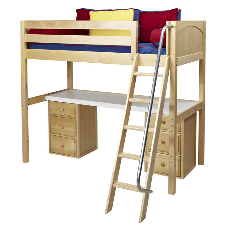 68 Best Images About Loft Beds On Pinterest: Knockout High Loft Bed With Desk And 2 Drawers In Natural