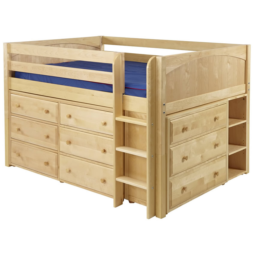 Large 3 full size storage bed in natural by maxtrix 601 Full size storage bed
