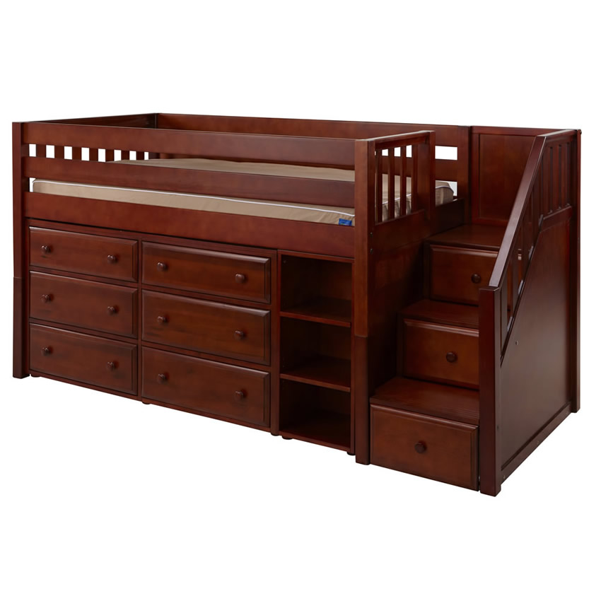 Great 1 Storage Bed with Stairs in Chestnut by Maxtrix (610) Thumbnail 1