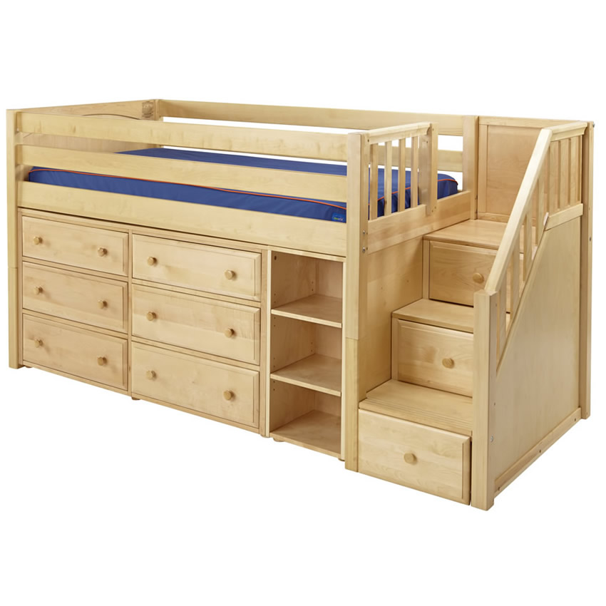 great 1 storage bed with stairs in natural by maxtrix 610. Black Bedroom Furniture Sets. Home Design Ideas