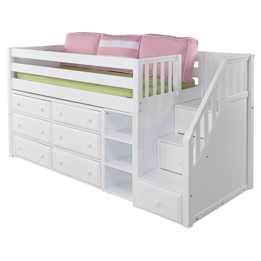 Great 1 Storage Bed With Stairs In White By Maxtrix 610