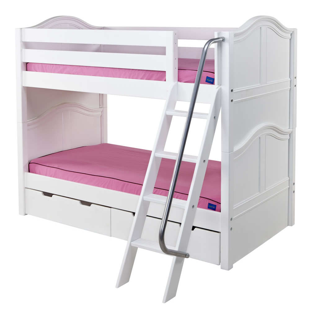 Hot Hot Low Bunk Bed by Maxtrix Kids: White, Curved, Twin Thumbnail 1