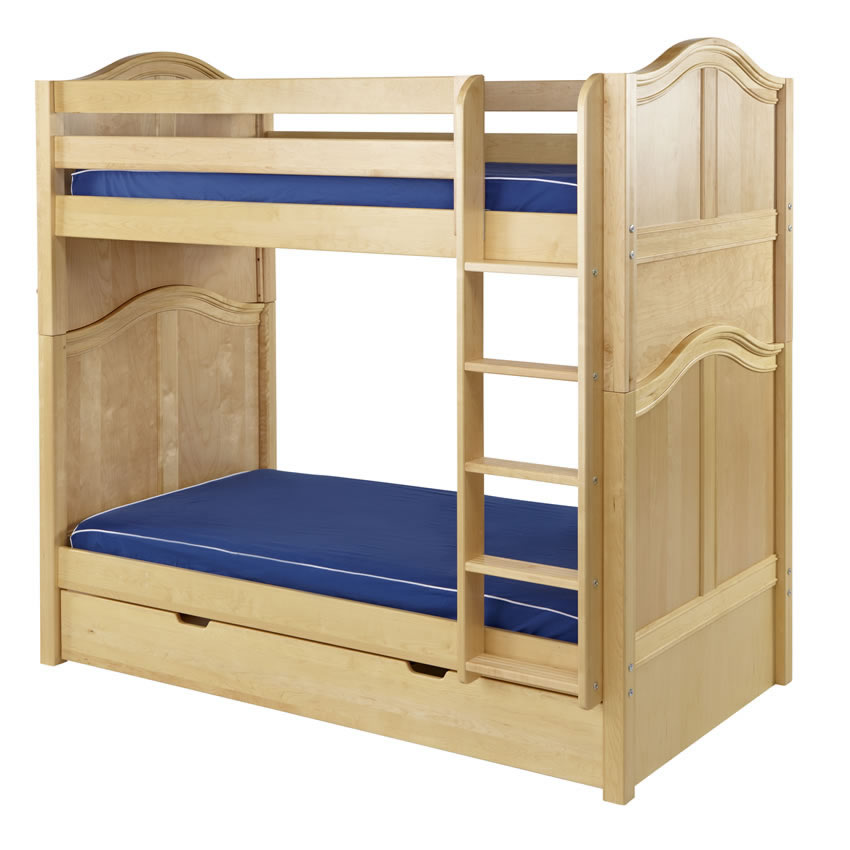 Tall High Bunk Bed by Maxtrix Kids: Natural, Curved, Twin Thumbnail 1