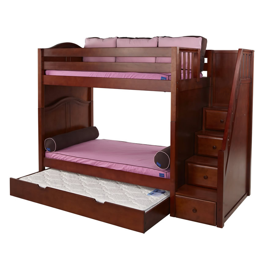 Whopper High Bunk Bed In Chestnut With Stairs By Maxtrix 785 0