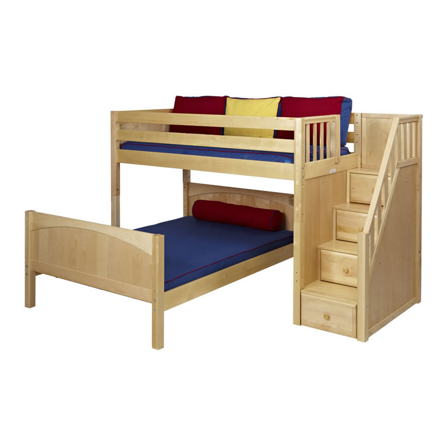 Twin over Full Bunk Bed in Natural with Stairs (825)