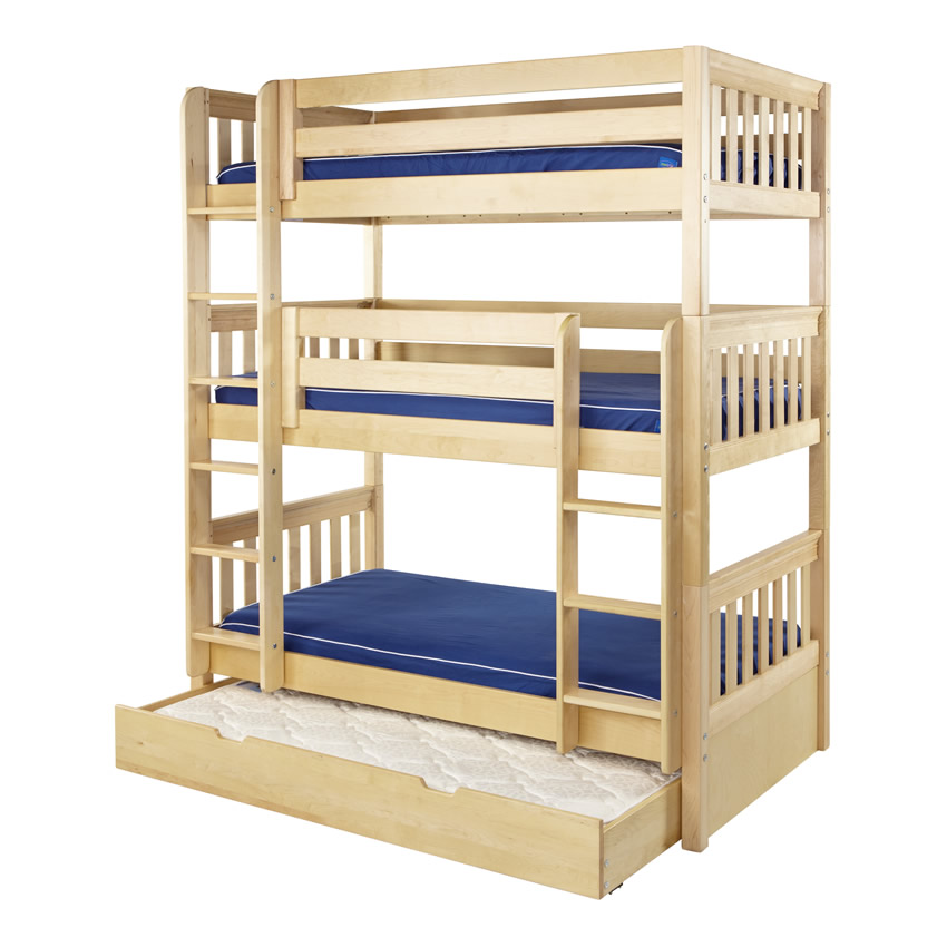 Maxtrix HOLY Triple Bunk Bed In Natural With Slat Bed Ends