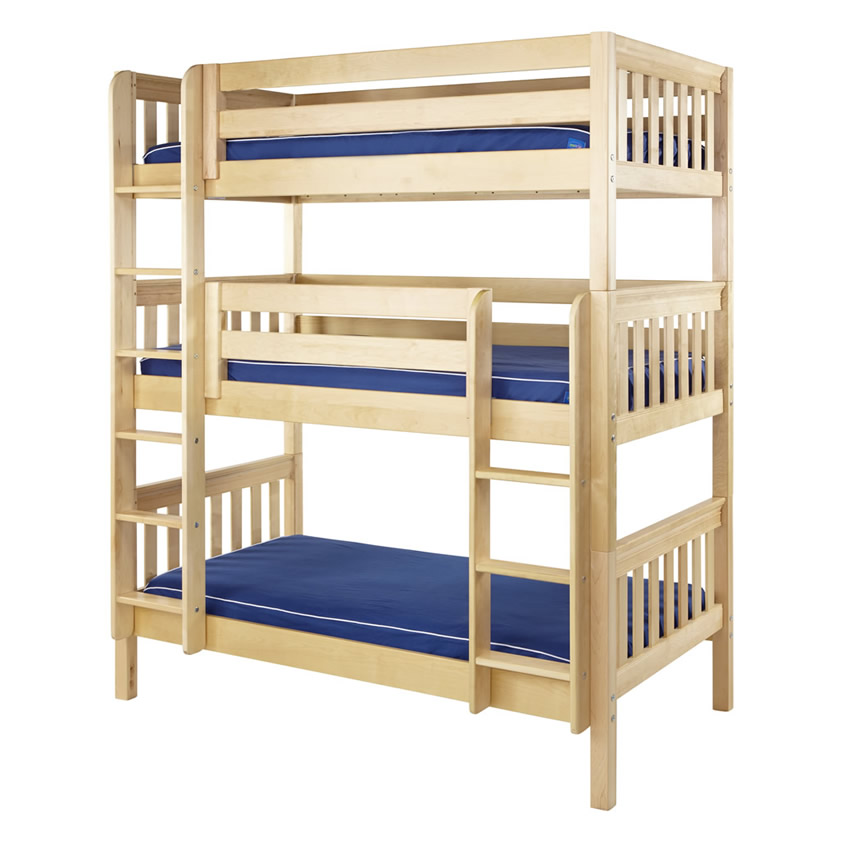 Maxtrix Holy Triple Bunk Bed In Natural With Slat Bed Ends 850