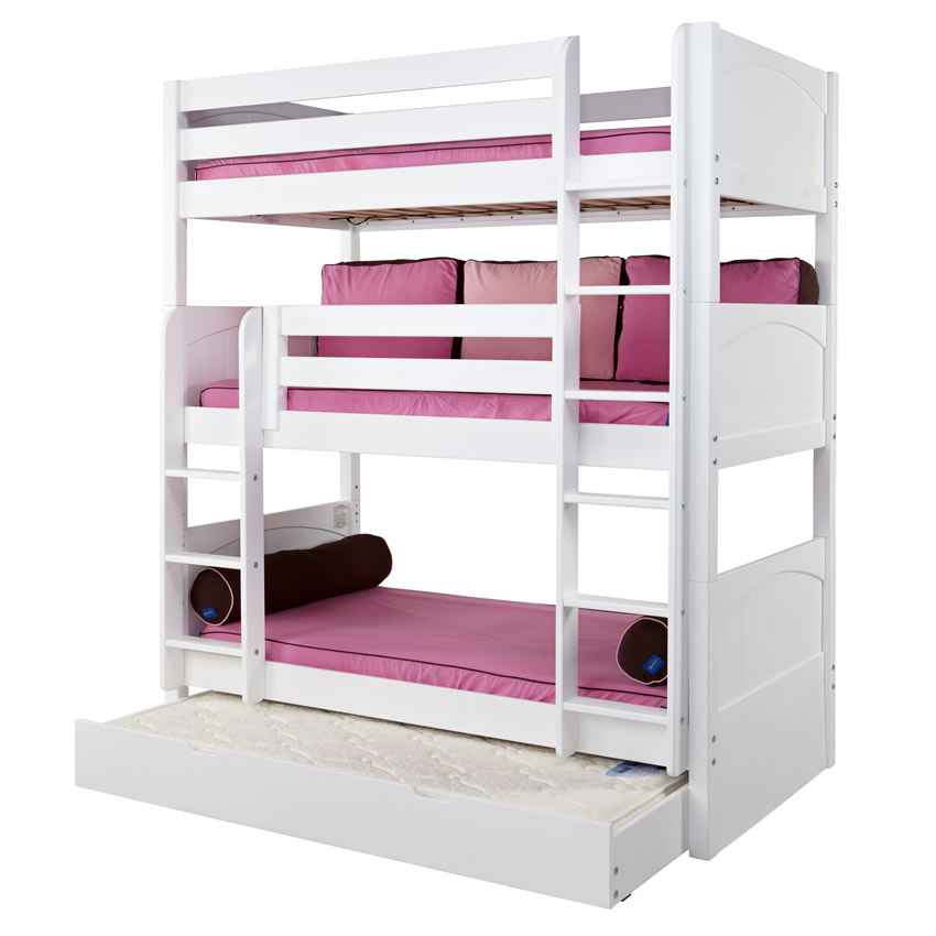 Maxtrix HOLY Triple Bunk Bed in White with Panel Bed Ends (850) Thumbnail 2
