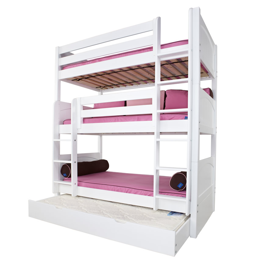 Maxtrix Holy Triple Bunk Bed In White With Panel Bed Ends