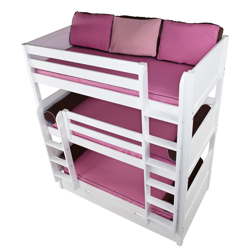 Maxtrix HOLY Triple Bunk Bed in White with Panel Bed Ends (850) Thumbnail 4