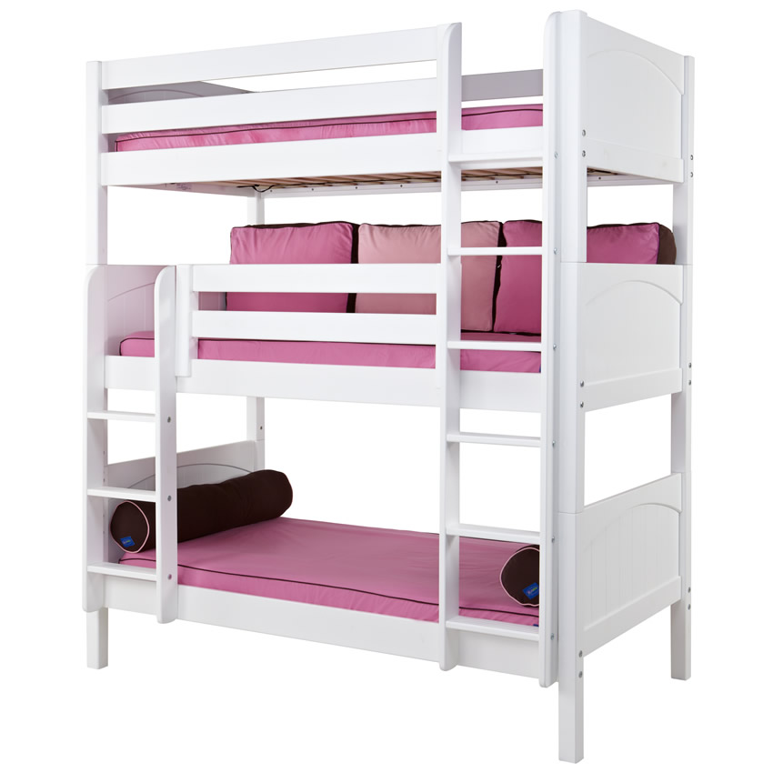 Maxtrix HOLY Triple Bunk Bed in White with Panel Bed Ends (850) Thumbnail 1