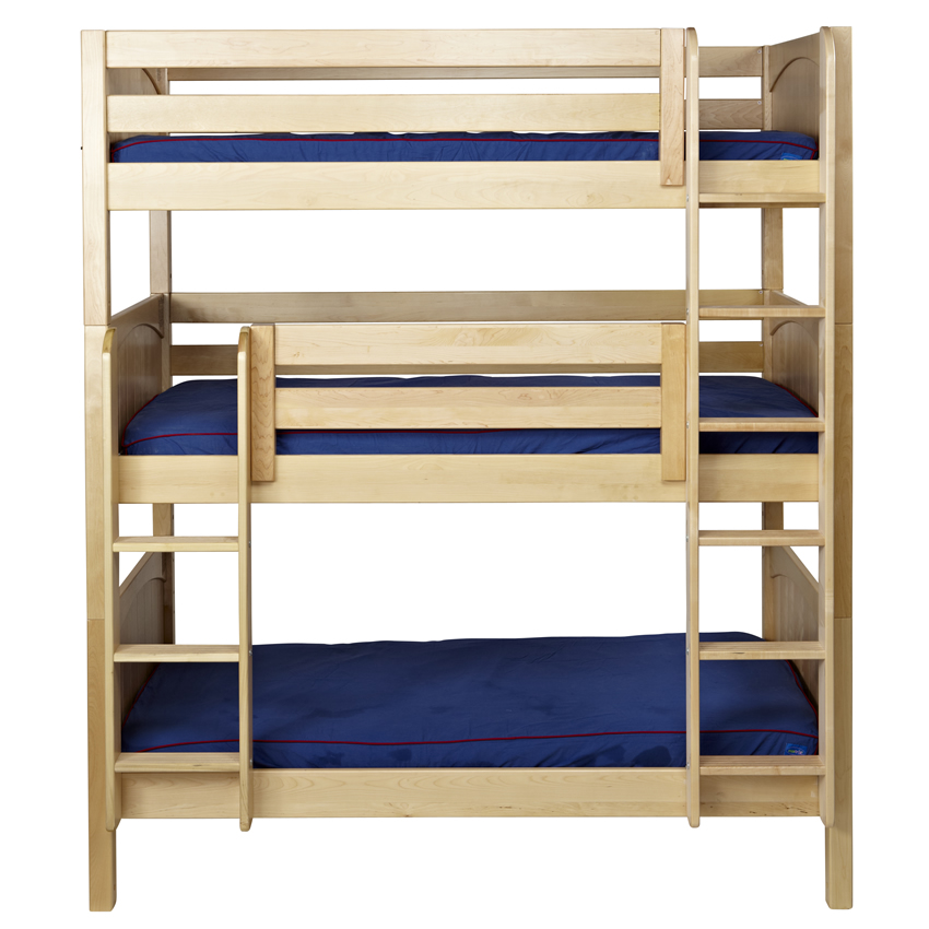 Maxtrix Holy Triple Bunk Bed In Natural With Panel Bed
