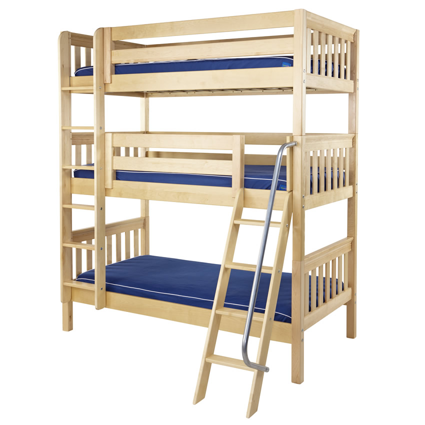Maxtrix MOLY Triple Bunk Bed in Natural Slat Bed Ends (850) Thumbnail 2