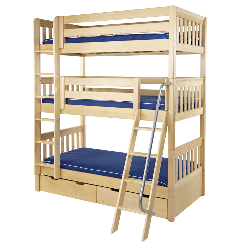 Maxtrix MOLY Triple Bunk Bed in Natural Slat Bed Ends (850) Thumbnail ...