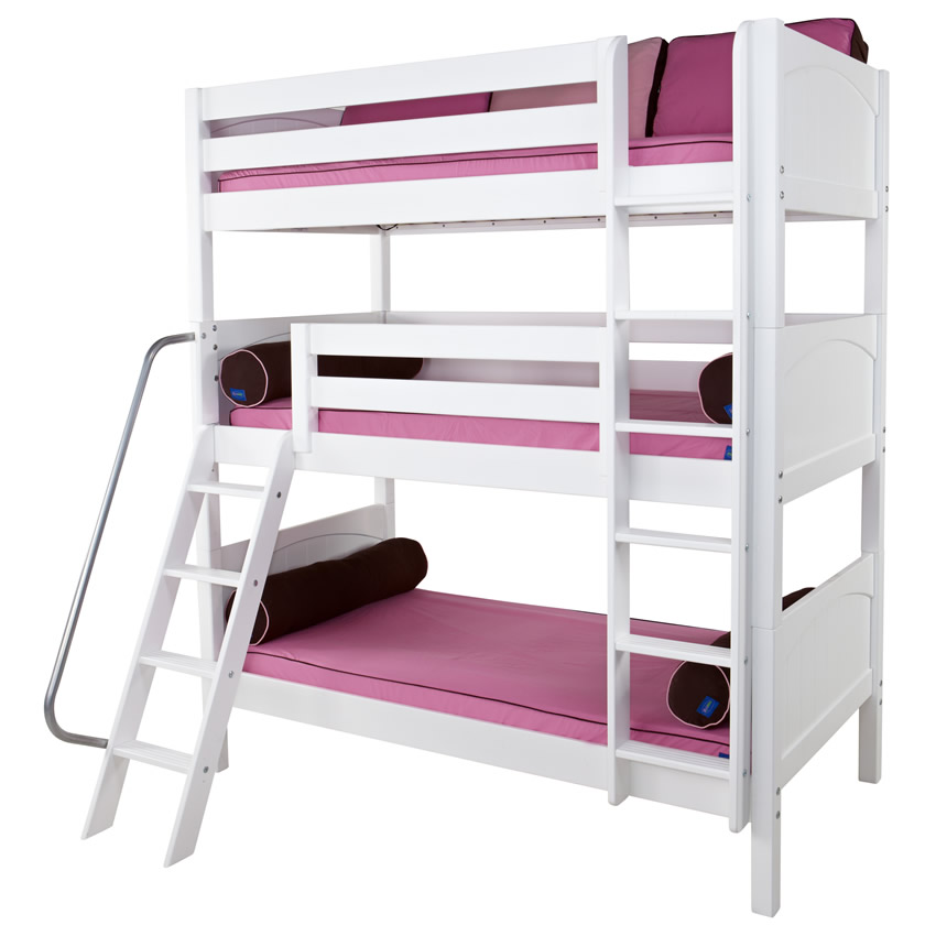 Maxtrix MOLY Triple Bunk Bed in White with Panel Bed Ends (850) Thumbnail 2