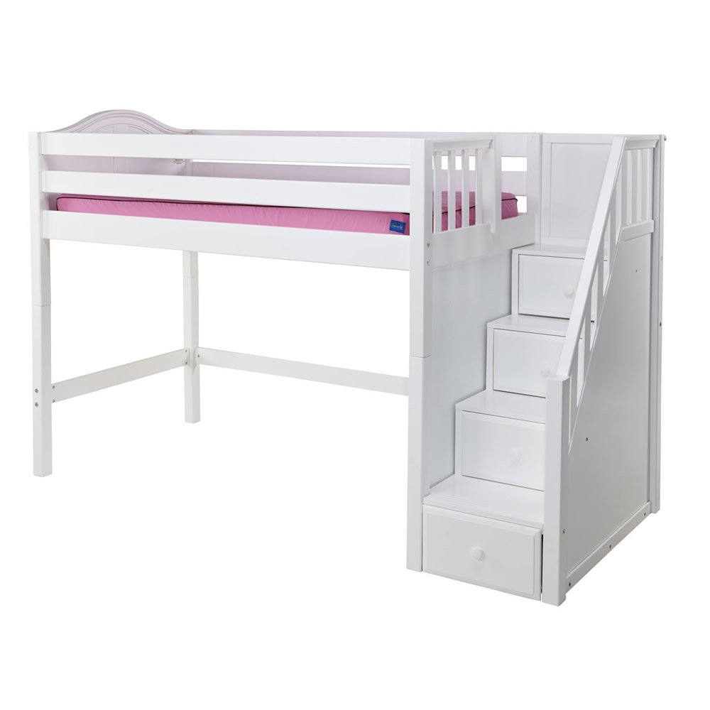 Maxtrix Galant Mid Loft Bed In White W Stairs Curve Bed Ends 405 0
