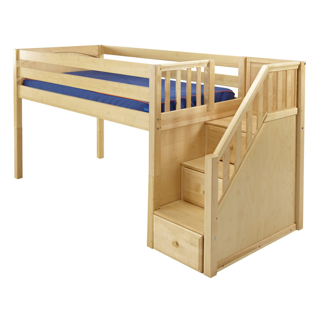 Maxtrix Great Playhouse Loft Bed in Natural w/ Stairs ...