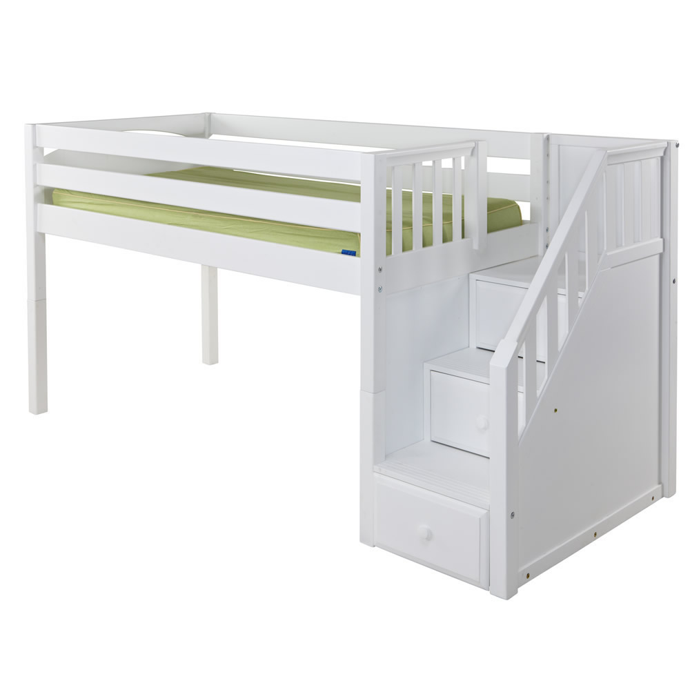 Low loft bed with stairs - Great Low Loft By Maxtrix Kids White Slats Stairs
