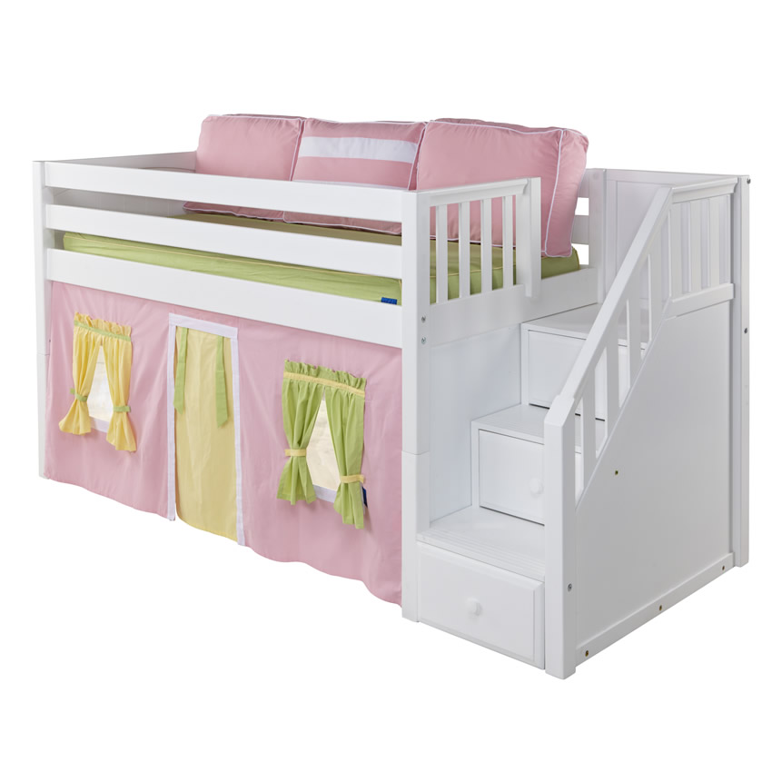 maxtrix great playhouse loft bed in natural w/ stairs (panel bed