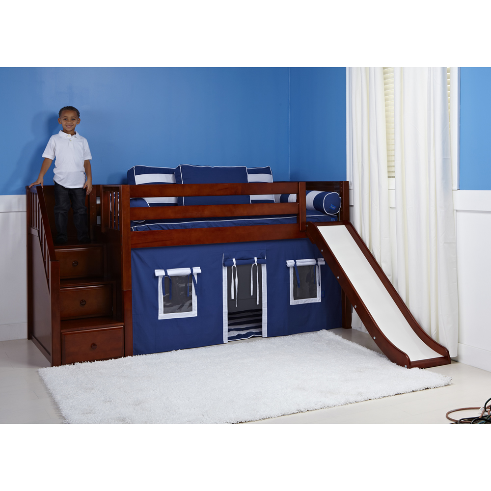 ... Loft in Chestnut w/ Stairs & Slide (Slat Bed Ends) (325.1) Thumbnail 2