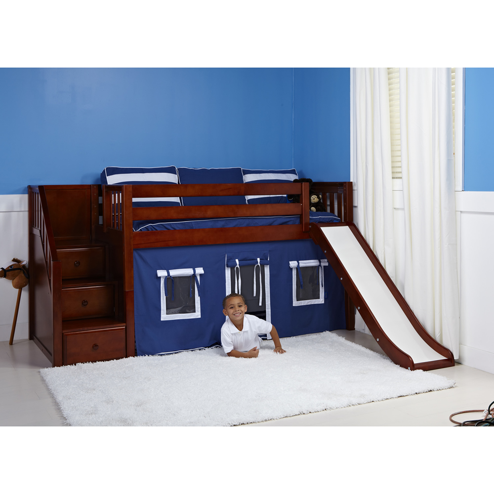 maxtrix delicious playhouse low loft in chestnut w stairs slide slat bed ends. Black Bedroom Furniture Sets. Home Design Ideas
