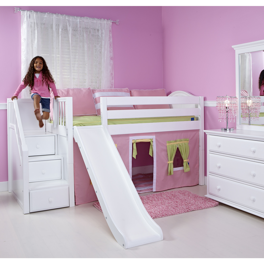 Low loft bed with stairs - Maxtrix Delicious Playhouse Low Loft In White W Stairs Slide Curve Bed Ends 325 1s
