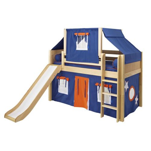 Blue and Orange Playhouse Loft Bed in Natural by Maxtrix (320.2)