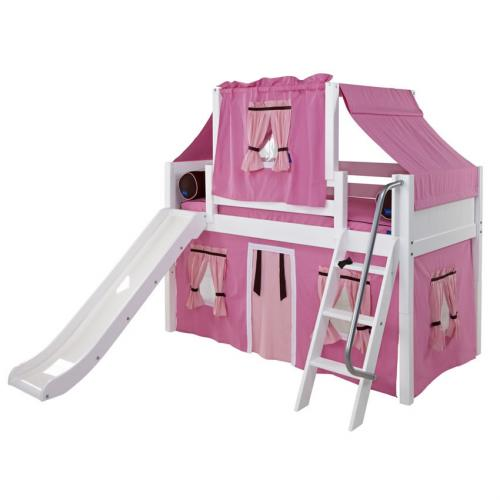 Pink and Brown Playhouse Loft Bed in White by Maxtrix (320.2)