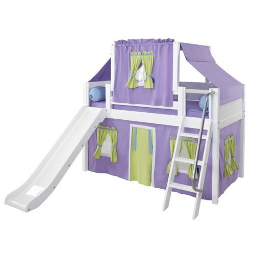 Purple and Green Playhouse Loft Bed in White by Maxtrix (320.2)