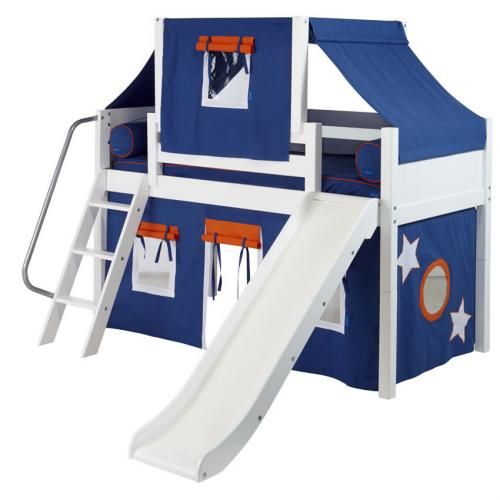 Blue and White Playhouse Loft Bed in White by Maxtrix (320.2)
