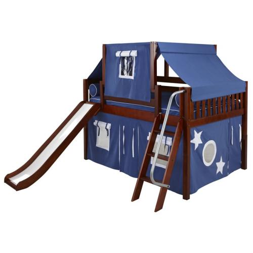 Blue and White Full Size Playhouse Loft Bed in Chestnut by Maxtrix (330.2)