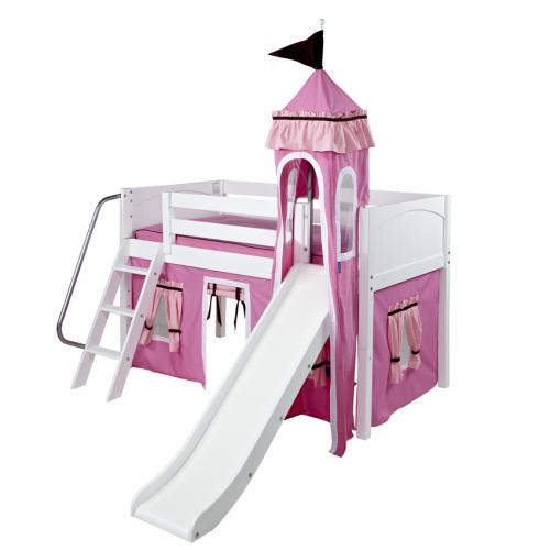 Pink and White Mini Castle Bed by Maxtrix (360)