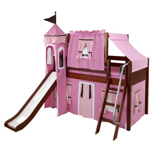 Pink and Brown Playhouse Castle Bed with Angled Ladder by Maxtrix (370)