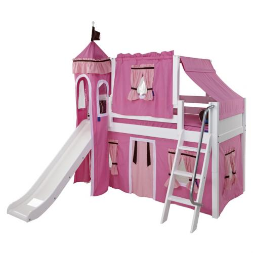 Pink and White Playhouse Castle Loft Bed by Maxtrix (370)
