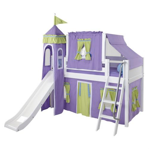 Purple and Green Playhouse Castle Loft Bed by Maxtrix (370)